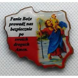 Plakietka Św. Krzysztof - mapa Polski